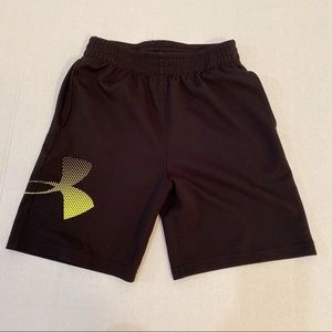 Under Armour Shorts Black Yellow Spellout